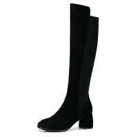 camel骆驼女鞋 秋冬新款 黑色显瘦套筒弹力长筒靴子粗跟高跟长靴女