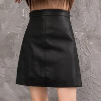 皮裙女2018新款秋冬短裙高腰ins超火半身裙子大腿粗的女生a字裙 黑色