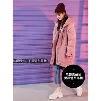 七格格大毛领女中长款2018新款韩版潮学生冬季灯芯绒棉衣棉袄