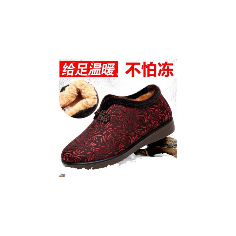 冬季老北京布鞋女棉鞋中老年加厚妈妈保暖鞋软底防滑老人奶奶棉鞋