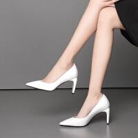 女士春季新款粗跟高跟鞋8.5cm真皮女鞋黑色妈妈鞋低帮尖头潮流女