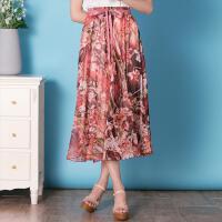 特尚莱菲雪纺半身裙女夏2017新款显瘦波西米亚半身长裙高腰大摆裙夏a字裙