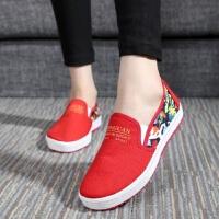 老北京布鞋女鞋学生休闲帆布鞋一脚蹬平底女士鞋低帮懒人单鞋