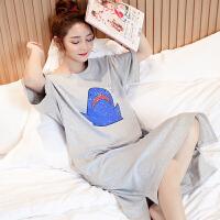 甜梦莱睡裙女士夏季可爱鲨鱼短袖纯棉睡衣薄款性感韩版学生大码女家居服 TFN#634鲨鱼(短袖)--灰色