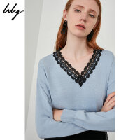 LILY春新款女装撞色蕾丝花边V领气质浅蓝针织衫118359B8940