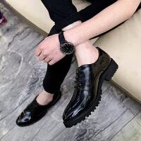 增高鞋男男士英伦休闲皮鞋季商务真皮套脚内增高韩版潮鞋发型师尖头皮鞋 旭日升 2618黑色