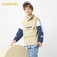【3件4.5折:90】巴拉巴拉儿童外套男童春装2021新款童装中大童童装撞色工装简洁酷