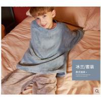 秋冬珊瑚绒亲子套装加厚儿童男孩中大童家居服童装睡衣女孩