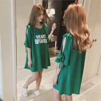 孕妇夏装连衣裙2018新款时尚韩版T恤中长款夏季短袖上衣孕妇夏装