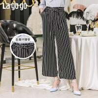 【新品5折价125】Lagogo2019年夏季新款宽松七分条纹高腰阔腿休闲裤子女IAKK523A64
