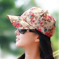 韩版时尚碎花棒球帽女士 可调节花朵金丝防晒透气出游遮阳嘻哈鸭舌帽