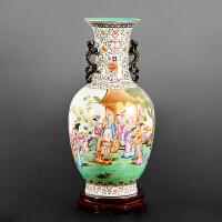 景德镇陶瓷花瓶中式仿古名家手绘粉彩玄关收藏家居装饰品客厅摆件