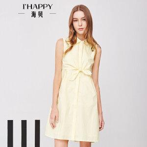 海贝夏季新款女装纯色翻领无袖高腰打结单排扣衬衫连衣裙中裙