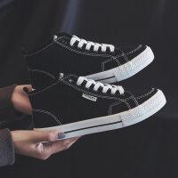 高帮帆布鞋女2019新款春季学生韩版百搭ulzzang黑色ins板鞋子