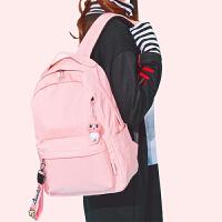 粉色森系高中学生书包女初中生大容量双肩包旅行背包