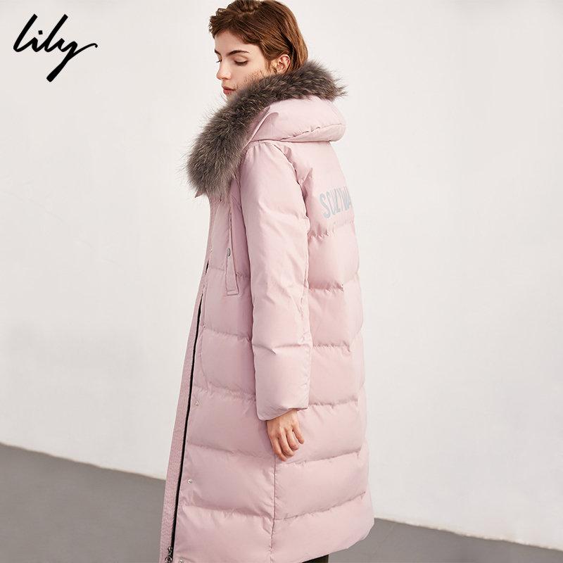 Lily秋冬新款女装OL时尚简约宽松直筒加厚毛领长款羽绒服1962