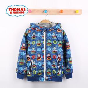 【满200减110】托马斯童装男童秋装棒球服棒球衫外套中大童圆领带帽加绒上衣托马斯和朋友