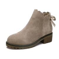 骆驼牌女靴 秋冬季新品蝴蝶结时尚短筒女靴英伦风粗跟女鞋