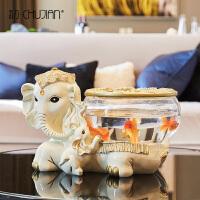 大象家居装饰品鱼缸创意办公室桌面摆件开业乔迁新居礼品