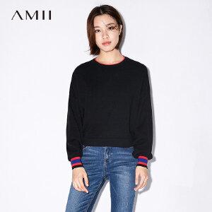 Amii[极简主义] 2017秋装新款宽松圆领落肩撞色条纹毛衣11774534