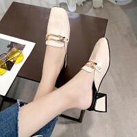 鞋子女2019新款女鞋拖鞋女夏外穿韩版中粗跟懒人半拖一字凉拖