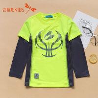 【1件2折后:39.6元】红蜻蜓童装春秋款卡通拼接袖舒适时尚男童儿童长袖