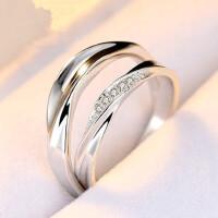 925银情侣戒指韩版简约开口对戒银饰男女一对价创意饰品