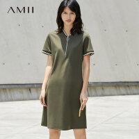 【AMII 超级品牌日】Amii[极简主义]2017夏装简洁休闲撞色V领拉链短袖连衣裙11731624
