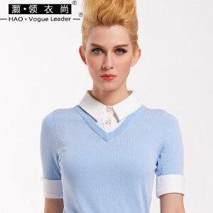 灏领衣尚春夏新款修身假两件针织衬衫短袖修身翻领女雪纺拼接上衣