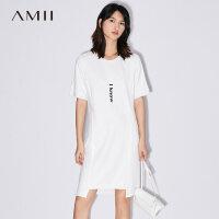 【AMII 超级品牌日】Amii[极简主义]2017夏装新款大码休闲印花落差下摆连衣裙11722149