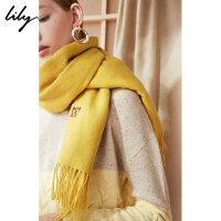 Lily春新款女装柔软全羊毛刺绣围巾双面流苏围巾118420AZ402
