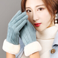 手套女冬加绒加厚保暖韩版可爱毛口学生秋季薄款防寒骑车触屏防滑
