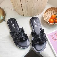 拖鞋女外穿时尚网红2019新款韩版沙滩鞋女平底海边水钻凉拖女 黑色 水钻