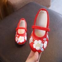 女童鞋表演舞蹈鞋宝宝软底老北京布鞋春秋单鞋复古手工绸缎绣花鞋