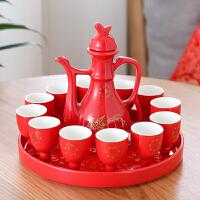 婚礼敬酒杯 中国红陶瓷酒具套装中式婚礼酒壶婚宴敬酒杯喜庆分酒器结婚庆交杯 +(托盘1个)