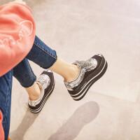 松糕鞋女厚底2019春季新款韩版百搭网红港味8cm增高鞋女单鞋