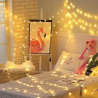 网红墙挂灯LED网红星星灯房间卧室装饰灯节日圣诞灯闪灯彩灯串挂灯防水卧室 插电款20米200灯 暖白
