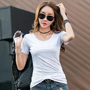 卡茗语女士t恤短袖新款2017夏装韩版字母印花圆领半袖女汗衫纯棉体恤衫