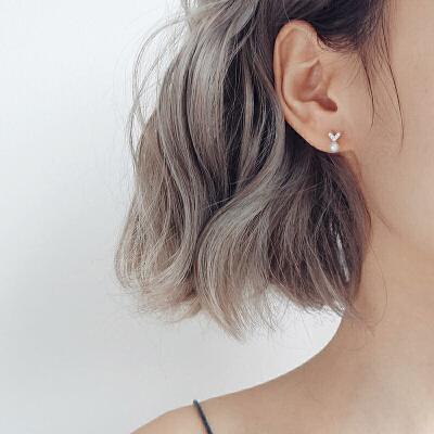 银耳钉女气质韩国个性简约百搭精致爱心桃心仿真珍珠饰品