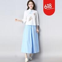 棉麻套装女夏2018新款民国风女装复古文艺亚麻上衣半身裙子两件套GH7001 浅蓝色 两件套 2X