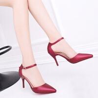 一字带高跟鞋女细跟百搭红色大码女鞋41-43小码黑色工作鞋32