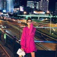 玫红色卫衣2019女装春秋薄款套头长袖潮早秋外套长款上衣 玫粉色 S 【95斤以下】