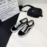ins街拍帆布鞋女学生韩版港风板鞋原宿ulzzang新款布鞋子 黑色 女款偏大一码