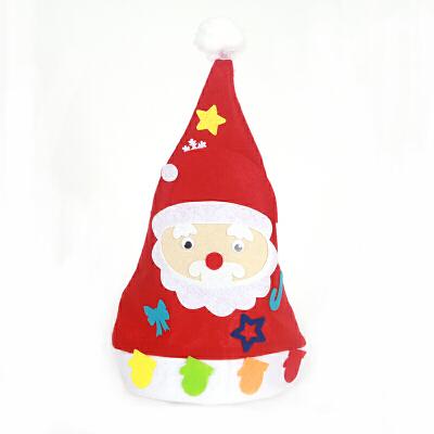 手工diy圣诞袜子装饰品圣诞节袜子幼儿园手工制作橱窗装饰袜子_圣诞帽