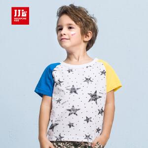 季季乐男童时尚星星T恤3夏新款中小儿童6透气吸汗男孩10岁童装BXT63152