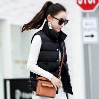 韩版短款女装棉衣马甲2018秋冬新款无袖外套大码小背心潮 S 适合体重97斤以下