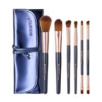 6支化妆刷套装彩妆中式工具双头眼影刷初学者全套粉刷子眉刷包新品 深海蓝 人造纤维