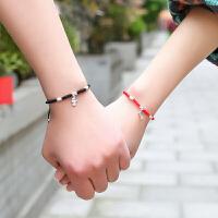 情侣手链一对可刻字男女红绳情人节礼物送女友送男友