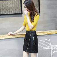 半身皮裙女2018新款高腰秋冬百搭修身显瘦不对称短款PU一步包臀裙 黑色