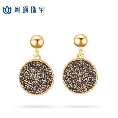 粤通珠宝925银针几何圆形耳钉时尚气质耳饰 精美包装